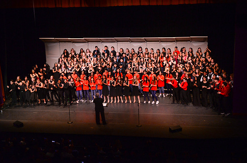 For the finale, every performing group gathered on stage to sing together. The United Voices concert is held annually in March at the Mexican Heritage Theater in San Jose.