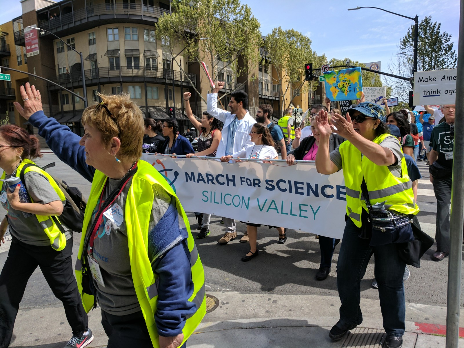Protestors participating in the March for Science in San Jose carry signs and chant slogans. Worldwide, 610 satellite marches were held in addition to the main march in Washington, D.C.