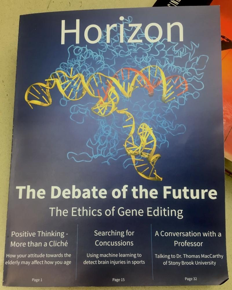 Science+teacher+and+Harker+Horizon+adviser+Chris+Spenner%27s+classroom+copy+of+the+first+issue+of+Harker+Horizon+rests+on+a+textbook.+The+issue%2C+released+last+week%2C+features+science+writing+from+current+and+past+upper+school+students.