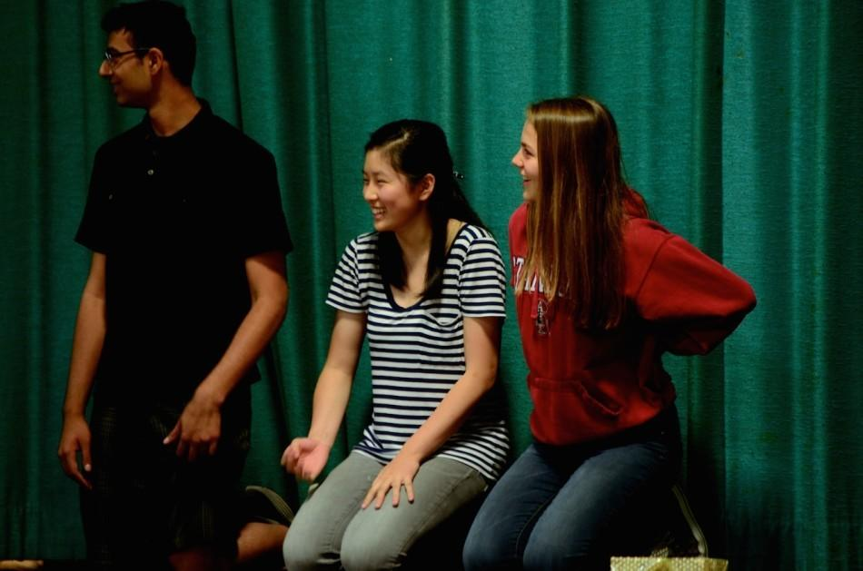 Juniors Shikhar Dixit, Fred Chang, and Sarah Bean wait to be initiated at the Senior Appreciation Assembly as ASB Secretary, Vice President, and President, respectively. New ASB and class councils convened for their first meeting yesterday to discuss ideas for the annual Matriculation skit and plans for the upcoming school year.