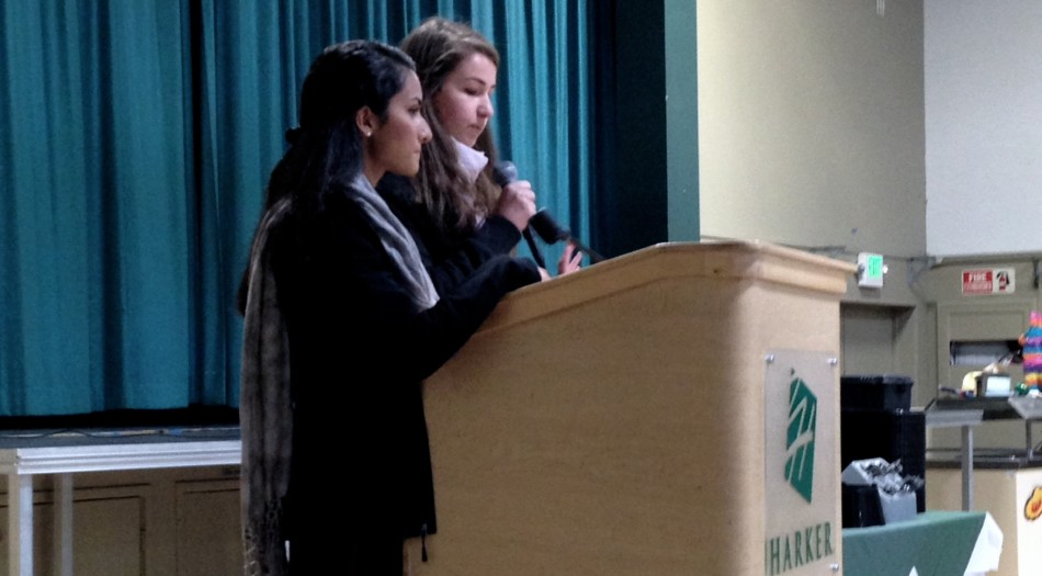 Monica Thukral ('14) and Ariana Shulman ('14) announce results from a DECA competition during school meeting earlier this year on Jan. 6.  Ninety students attended the SVCDC business and leadership conference of the year in San Jose from Jan. 3 to 5.