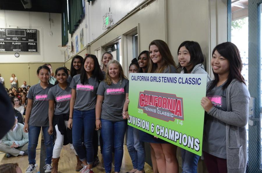 Girls tennis team was crowned Division 6 Champions after winning 5-0 at the California Tennis Classic in Fresno. The team plays Santa Clara High tomorrow at Decathlon and at Wilcox Thursday.