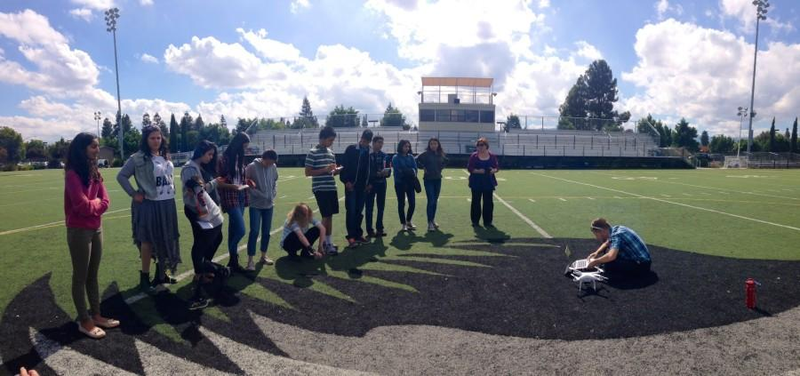 Under the guidance of Eric Marten, the journalism students tested the drone for the first time today on Davis Field.