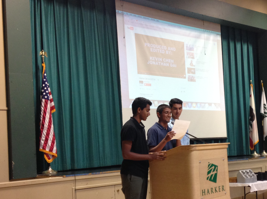 Sidhart Krishnamurthi (12), Dhanush Madabusi (11), and Ankur Karwal (11) announced  the launch of the Upper School's first BEcon, a business and entrepreneurship conference, at the school meeting this morning. The event is on Oct. 18 and tickets go on sale starting Wednesday.
