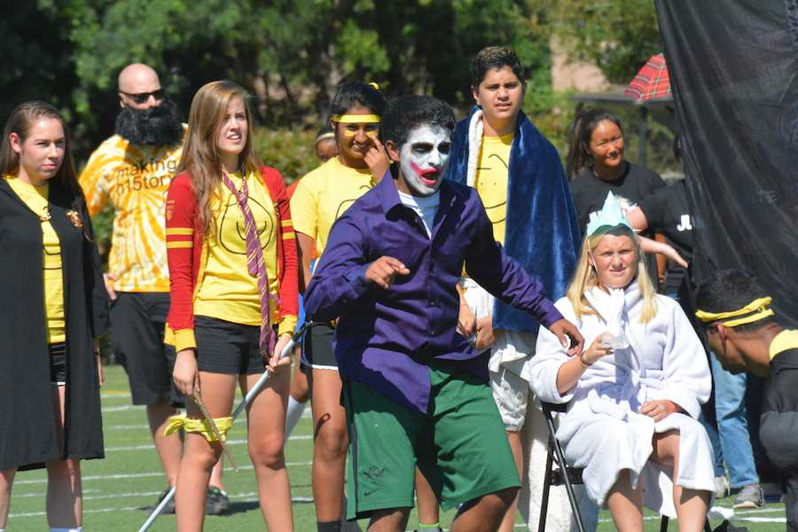 Madhavan Nair (12) plays the Joker in the Harry Potter segment of the senior class skit.