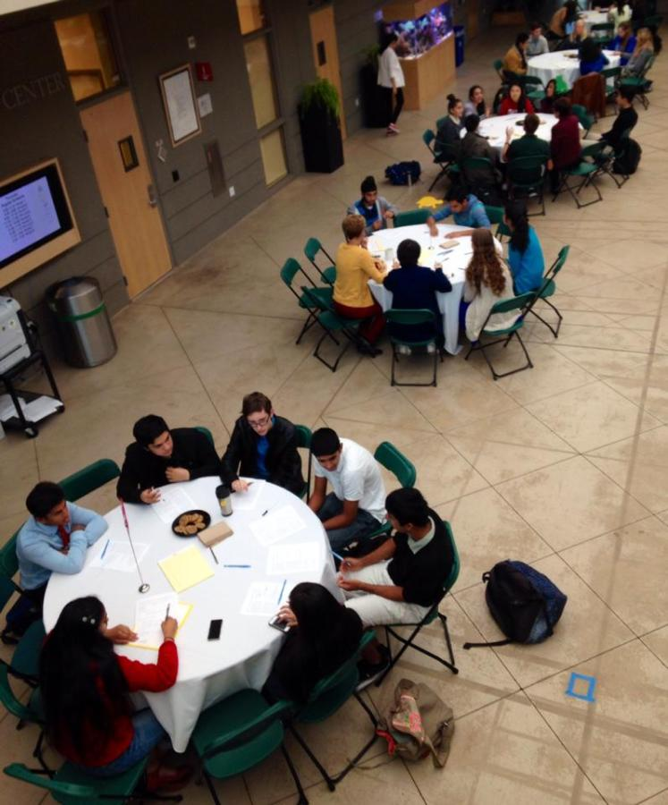 FOCUSING ON CHANGE: Students and faculty gather at the Oct. 20 focus group meeting to discuss dress code alterations. They decided to change restrictions on boys shirts and girls skirt lengths.