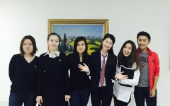 The student editors of the Nazarbayev Intellectual School of Assana (NISA)'s magazine iBusy pose for a group photo. The Kazakh students report that they feel they have a relatively clear atmosphere for free expression as a journalism program.