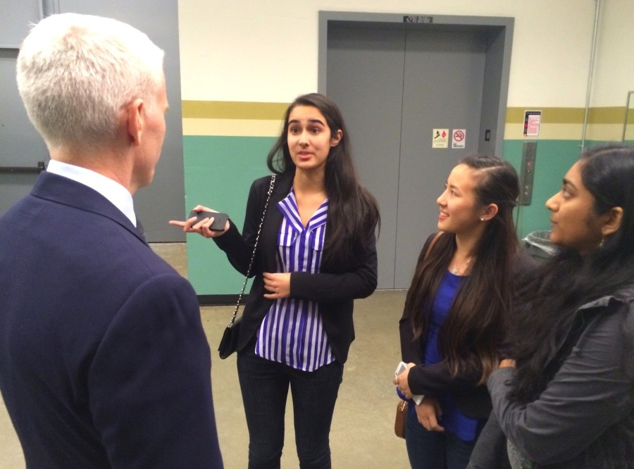 Upper School journalism seniors interview Cooper after the presentation. They attended one of Anderson Cooper's three presentations this week at the Flint Center in Cupertino.