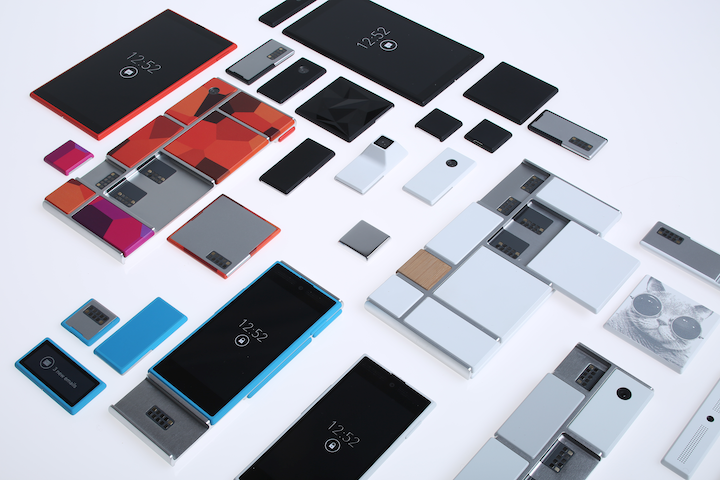 Various components, known as modules, for the Project Ara smartphone are shown. Yesterday, Google revealed at a developer concept regarding its modular smartphone, Project Ara, that the phone will first be released in Puerto Rico.