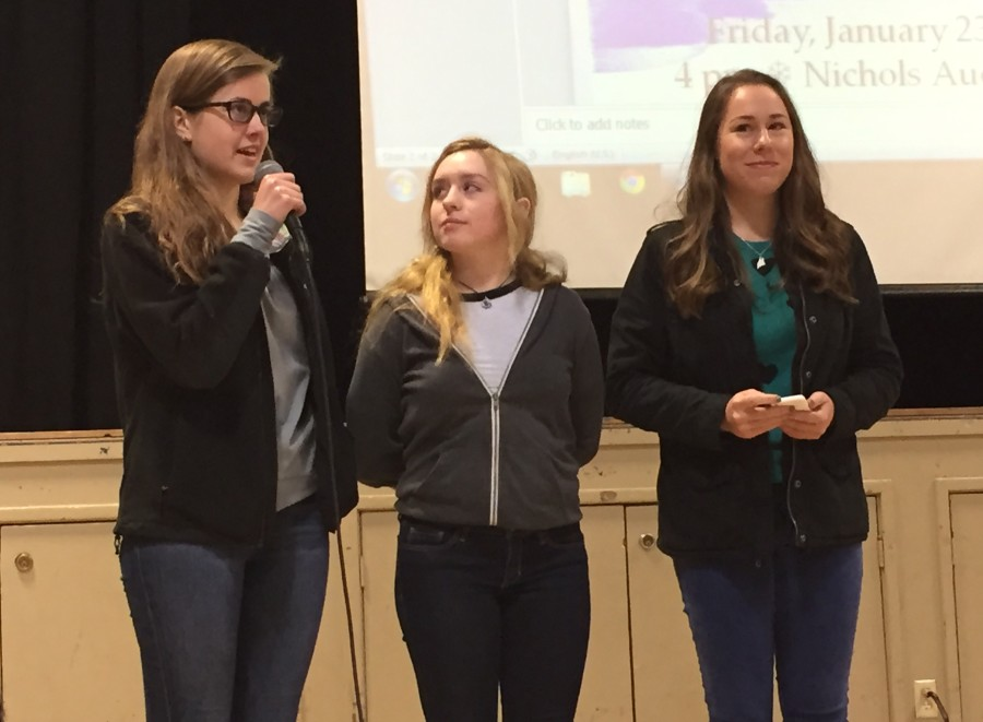 Seniors Madi Lang-Ree, Zoe Woehrmann, and Caroline Howells announced that Conservatory certificate candidates that are juniors will be performing this Friday in the Nichols Auditorium at 4 p.m.