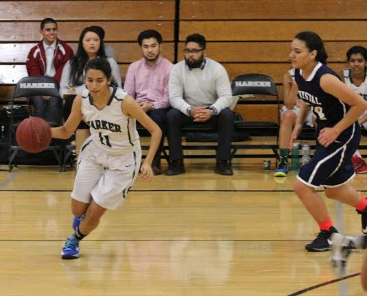 Shreya Basu (12) dribbles around an opponent on the way to the basket.  The girls won 54-11 yesterday