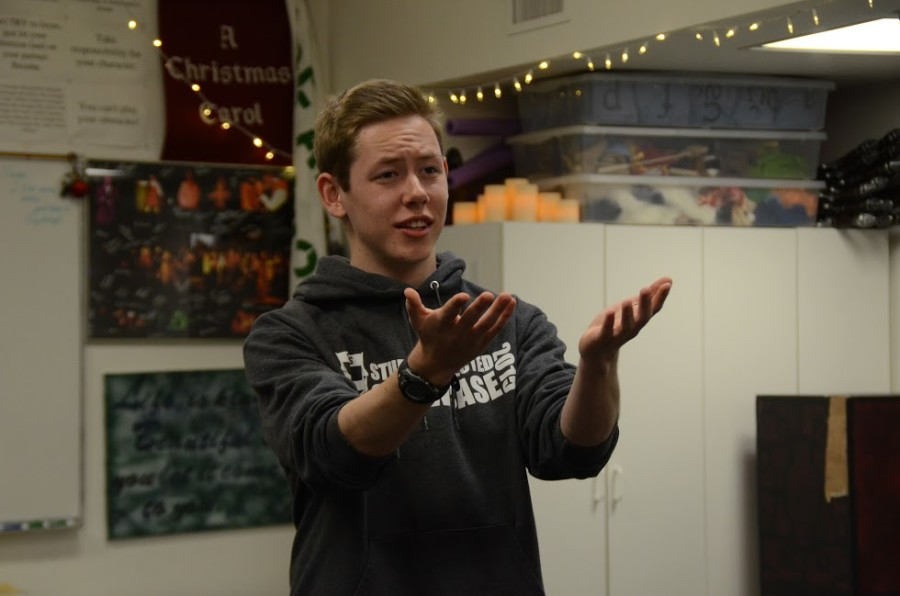 MC Smitherman (11) practices his monologue with his Shakespeare in Performance teacher, Jeffrey Draper. MC performed a monologue and sonnet the Regional Shakespeare Competition in Archbishop Riordan High School last Saturday.