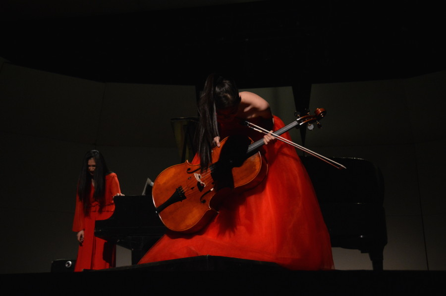 Nana and Jo-Hwa Yao take a bow after they finish playing a piece. She performed at a United States International Music Competition Benefit Concert on March 21.