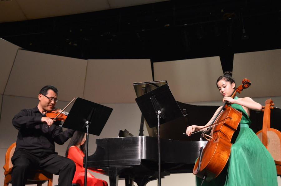 Nana performs alongside violinist Ryan Chen and pianist Jo-Hwa Yao. She performed at a United States International Music Competition Benefit Concert on March 21.