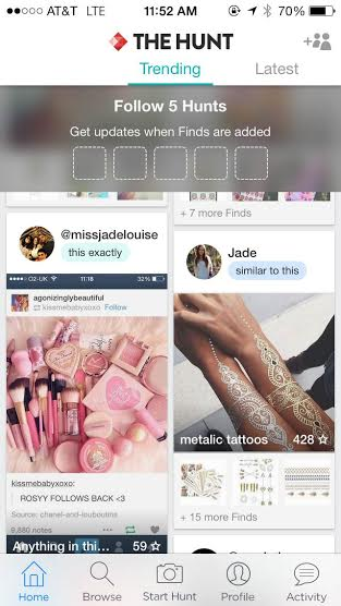 The Hunt is an app that enables users to peruse fashion from their iPhones. The primary purpose of The Hunt is to locate clothing seen in pictures online.