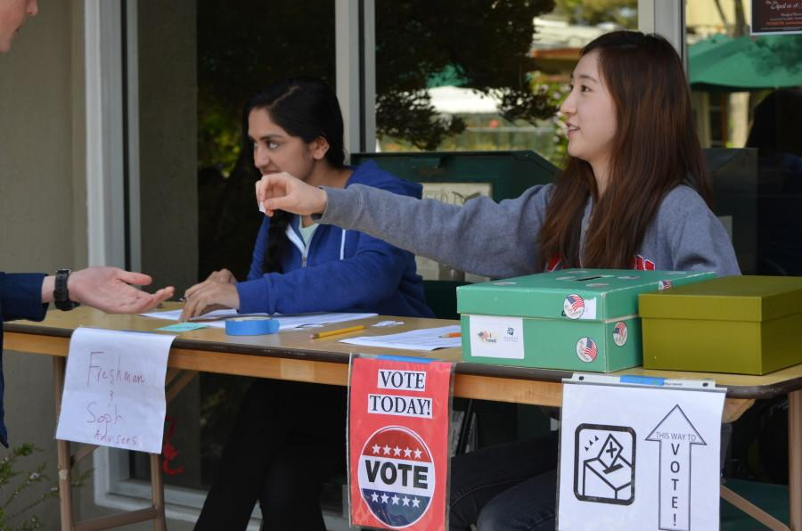 Honor council officers Sahana Rengarajan (12) and Kevina Xiao (11) hold elections for next year's ASB council. Voting occurred using an instant runoff voting system (IRV) on April 9 during lunch in the journalism room.