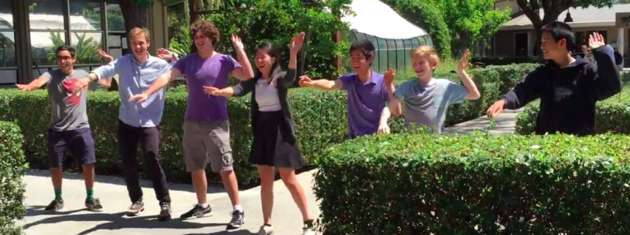 """Priscilla Pan (12) reenacted senior Vivek Sriram's Hoscars dance of T-ARA's """"Roly Poly"""" to ask him to prom in the Quad. Priscilla asked the original performers, dubbed the Roly Poly Dream Team, to dance with her."""