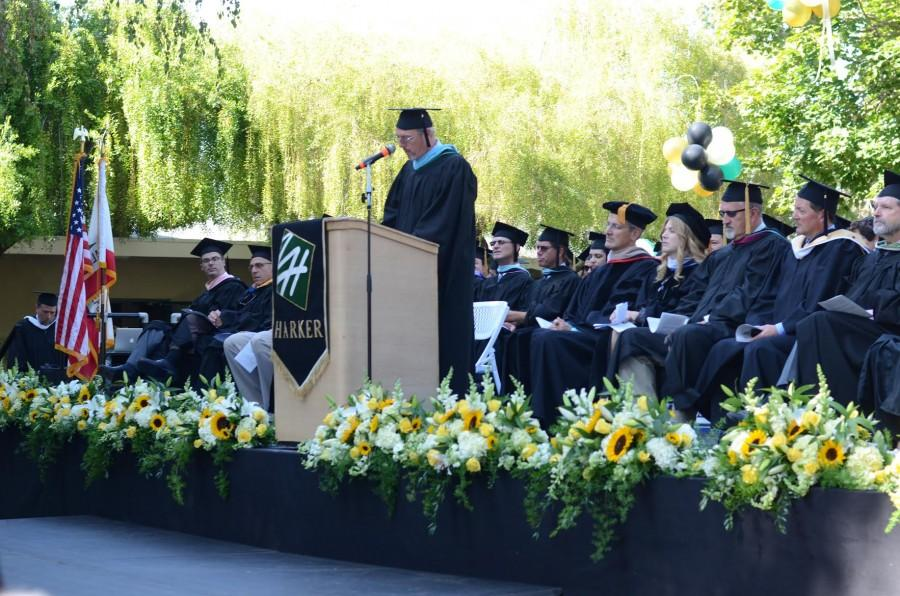 Upper School Head Butch Keller delivers a speech to the students assembled in the Quad for Matriculation, a ceremony which welcomed freshmen and introduced them to the Upper School. The class of 2020 will submit its high school applications this week to join the upper school this fall.