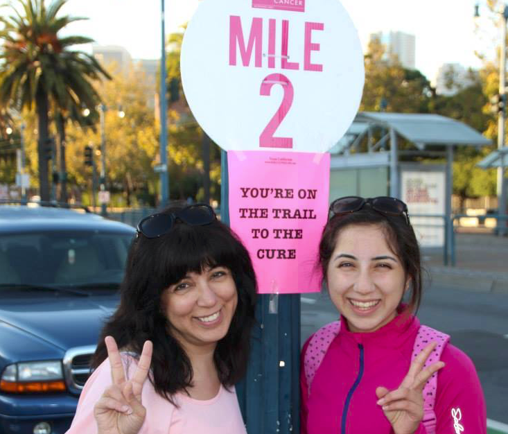 Eesha+Chona+%2812%29+and+her+mother+show+their+support+for+those+against+breast+cancer.+Eesha+founded+the+Association+of+Teens+Against+Cancer.