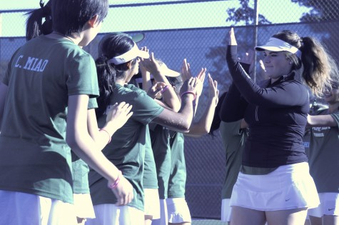 Varsity girls tennis team loses a close match against Menlo on senior night