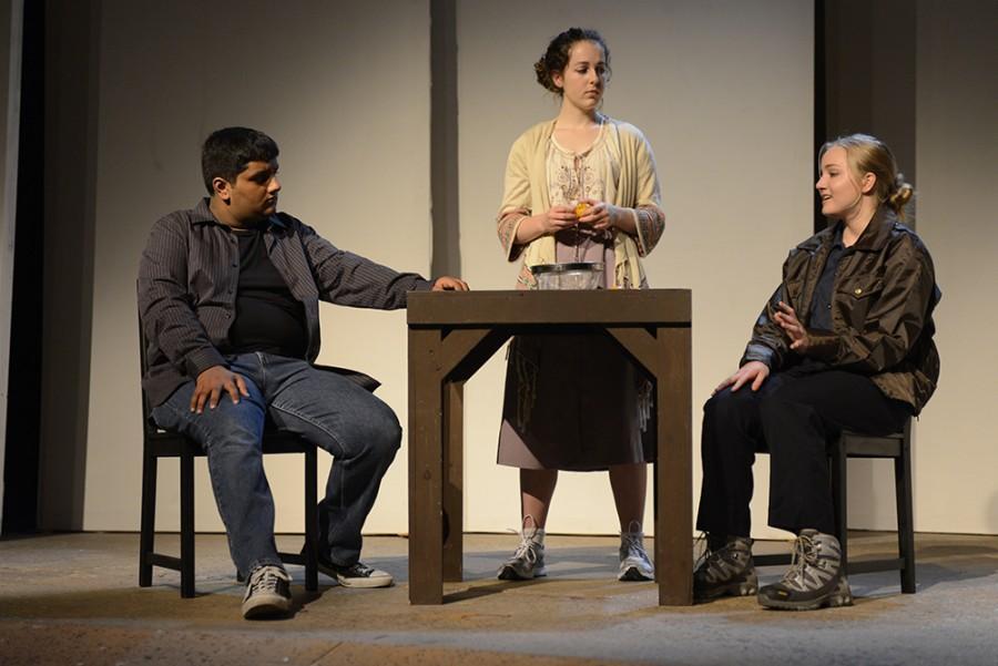 Rishabh Chandra (12), Naomi Molin (12) and Marina Newman (11)  portray a scene where a reporter from the Tectonic Theater company interviews Laramie inhabitants.