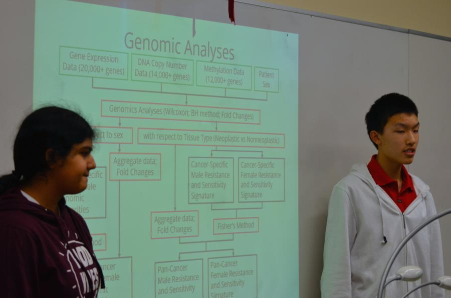 Last year's Siemens Competition finalists Sadhika Malladi (12) and Jonathan Ma (12) utilized a Power Point to present their experiment. This year's Siemens semifinalists were announced on Oct. 14.