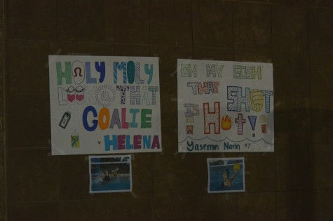 The team made colorful posters celebrating co-captains Helena Dworak, the team's starting goalie, and Yasemin Narin, a field player.