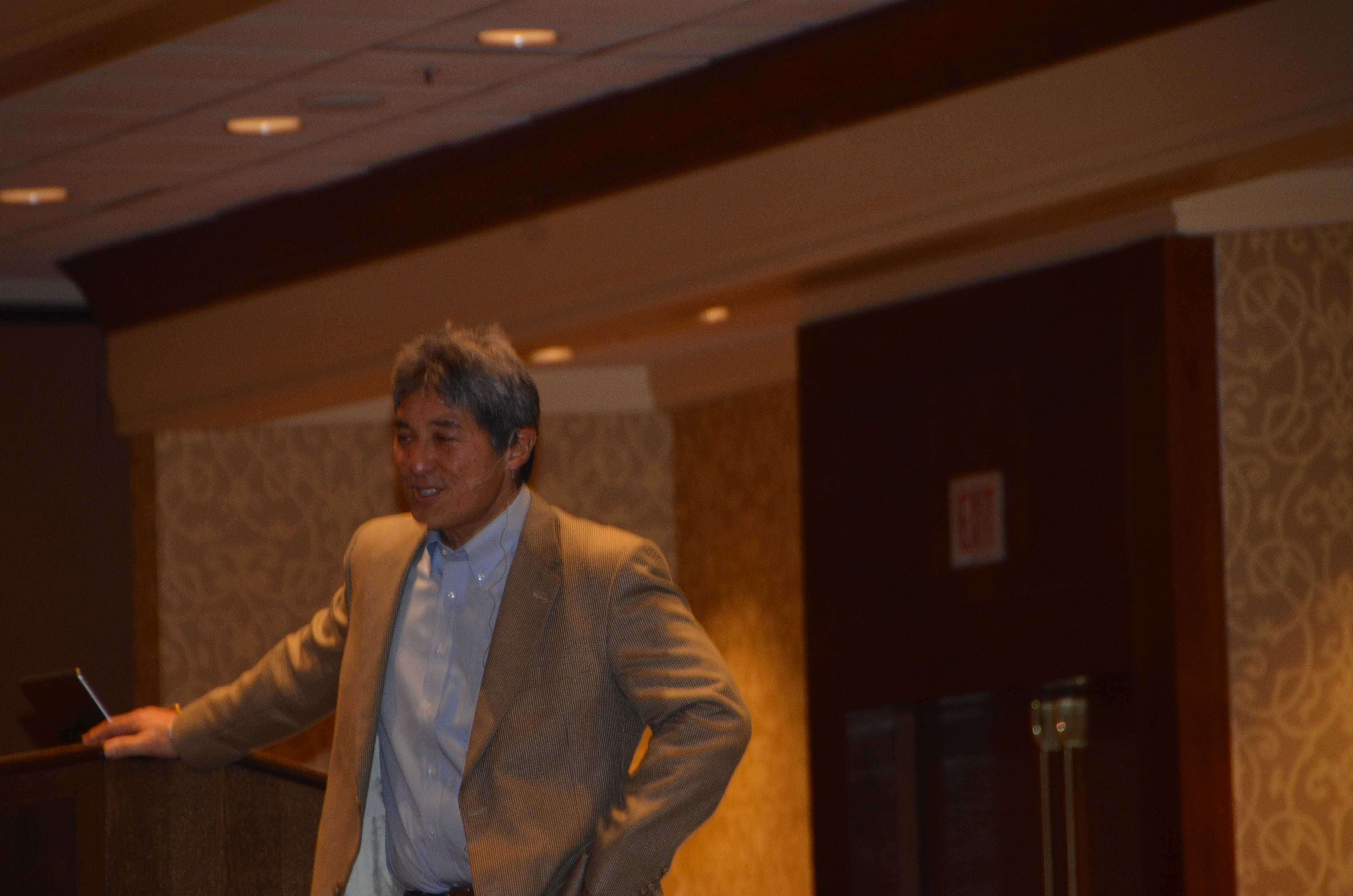 Feature keynote speaker Guy Kawasaki, former chief evangelist of Apple, addresses students about tips for success at LACE on Saturday morning. LACE was the upper school chapter's first non-competitive conference of the year.