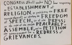 This is the First Amendment of the Constitution. It protects the rights to free speech, free press, free religion, the ability to peaceably protest, and the right to petition the government.
