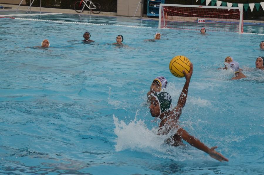 Sophomore Arnav Tandon prepares to throw the ball during a water polo match.