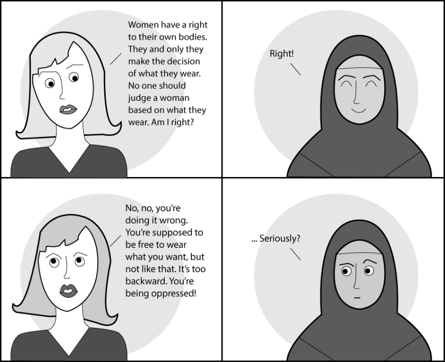 In+the+cartoon+above%2C+two+women+exchange+conversation+about+certain+forms+of+traditional+women%27s+headwear.+All+women+have+the+right+to+their+bodies+and+the+choice+to+wear+what+they+please%2C+traditional+or+not.