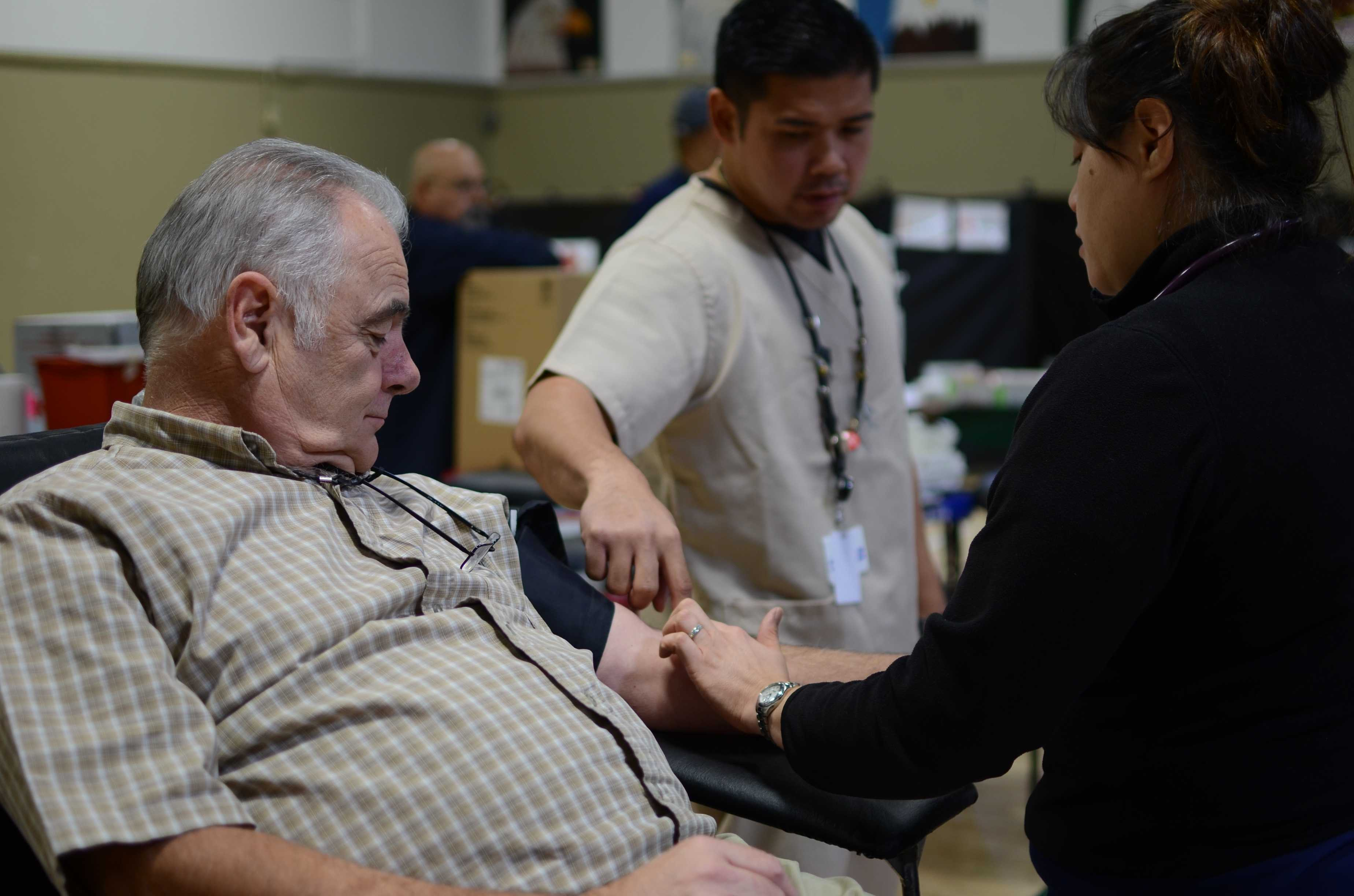 Gary Blickenstaff had one pint of blood drawn today at the Red Cross Club's annual blood drive during long lunch. Blood units from this event were donated to the American Red Cross in the Bay Area.