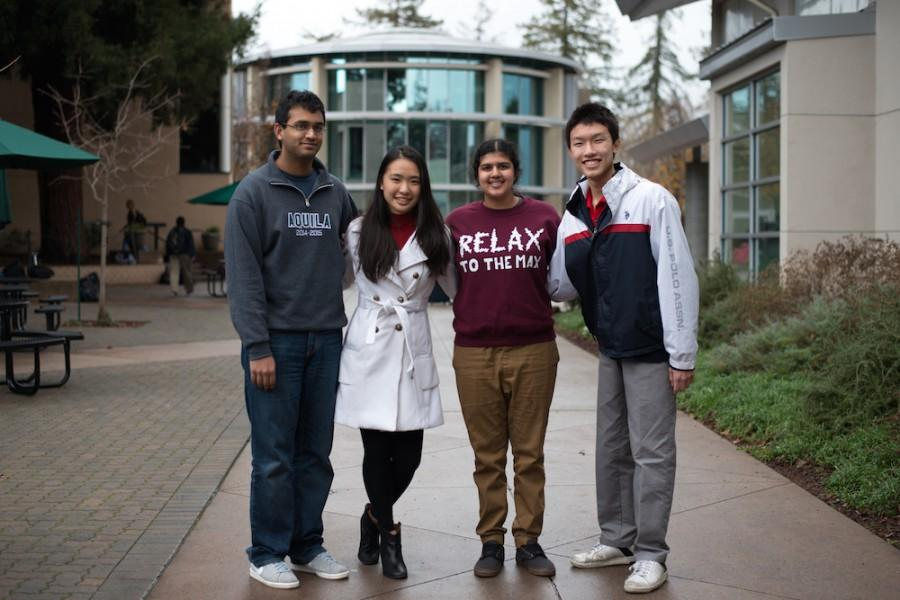 Intel Science Talent Search (STS) semifinalists Vineet Kosaraju (12), Sophia Luo (12), Sadhika Malladi (12), and Jonathan Ma (12) pose for a picture. Each year, Intel STS names 300 high school seniors nationwide as semifinalists, and offers each a $1,000 award, along with $1,000 to their school.