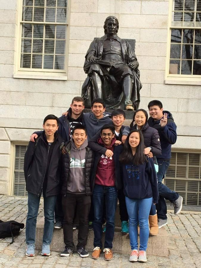 The+Harker+team+poses+in+front+of+the+John+Harvard+statue+after+participating+in+the+Harvard-MIT+Math+Tournament.+The+team+did+not+place+in+the+tournament.+
