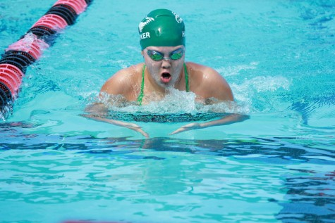 Vivian Wang (10) comes up for air during her 100 yard breaststroke. This was the second invitational and the fourth meet of the season.