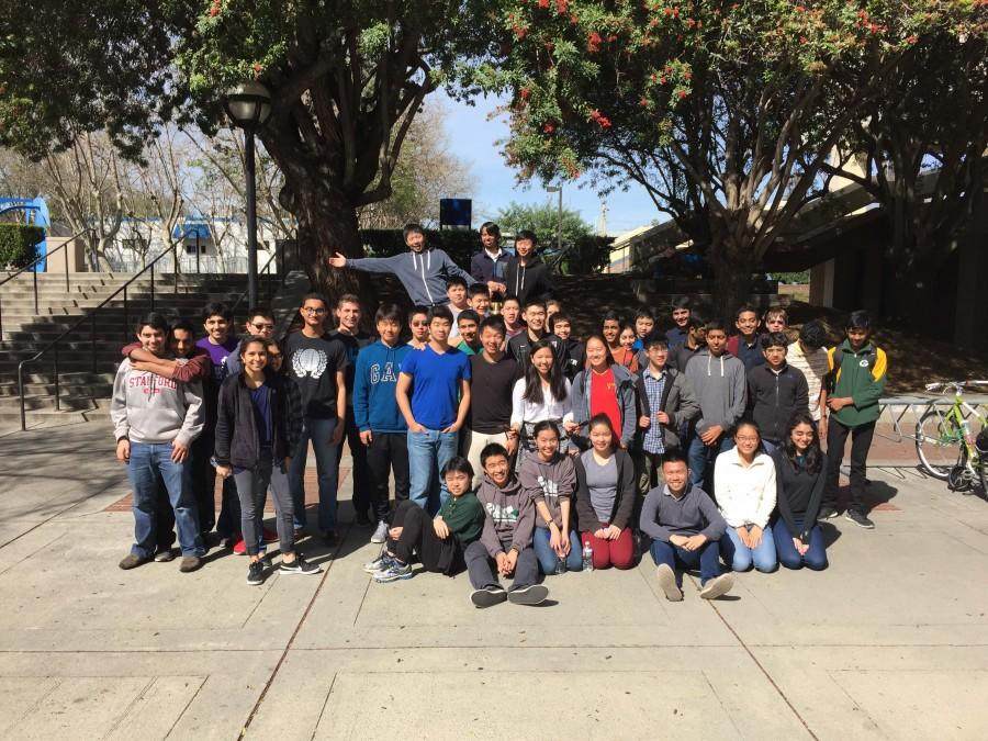 Forty-eight+Harker+students+who+participated+in+the+TEAMS+competition+stand+inside+San+Jose+State+University.+The+competition%2C+which+took+place+Feb.+27%2C+included+two+other+schools%2C+Palo+Alto+High+School+and+Mountain+View+High+School.+