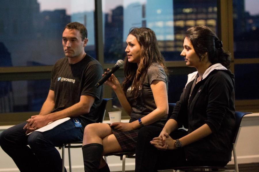 Three members of Twitter's Women in Engineering group present at their open house event in San Francisco in April, 2015. This group is one of several at the company that is intended to promote a sense of community and support.