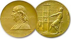 The Pulitzer prize medal is awarded each year to the news corporation that wins in the Public Service category. This year, the Associated Press received the medal for their news series that highlighted slavery and abuse connected to the overseas fishing trade, an investigation that liberated over 2,000 captives in Southeast Asia and inspired various labor reforms. Courtesy of Wikimedia Commons.