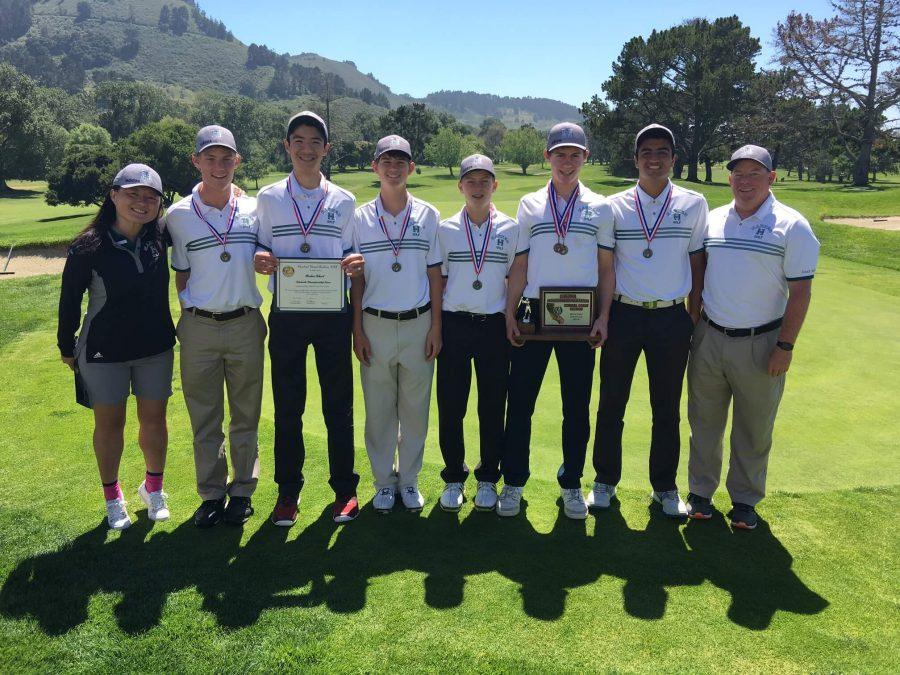 The golf team poses for a picture after the tournament. The team qualified for the Nor Cal Qualifier Tournament through their placement in the CCS tournament.