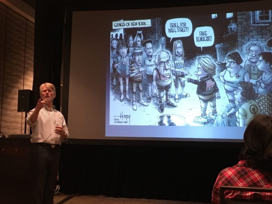 David Horsey, Los Angeles Times Pulitzer Prize-winning cartoonist and columnist, describes one of his political cartoons. Fifteen journalism students traveled to Los Angeles for the 2016 National High School Journalism Conference.