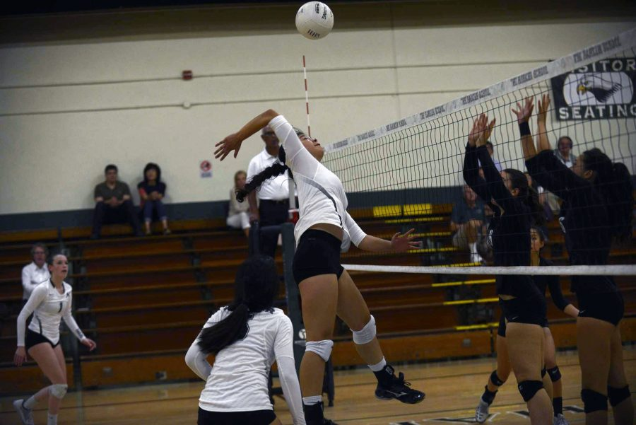 Tiffany Shou (11) prepares to hit the ball. The girls' volleyball team lost to Homestead High School 2-3.