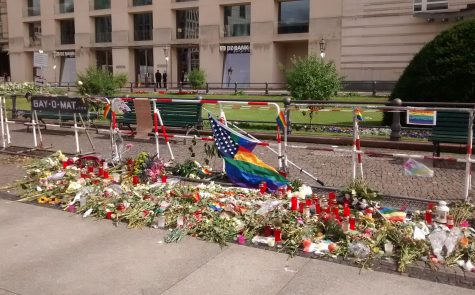 A memorial outside of the US embassy in Berlin held for the victims of the Orlando nightclub shooting. The shooting prompted an international outcry, for its death toll of 49 was the largest out of all American terror attacks in the past 15 years.