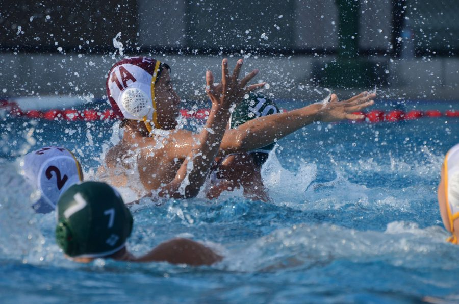 Both teams scramble for the ball. The Eagles defeated Cupertino 16-6.