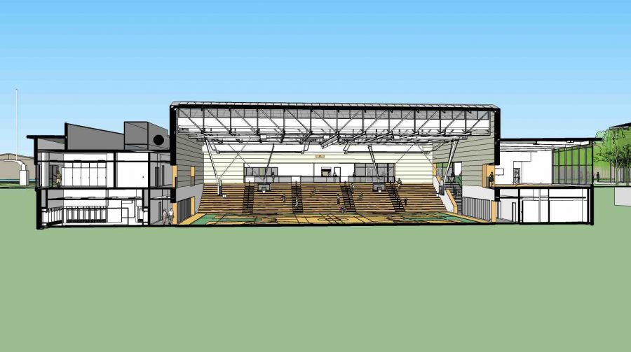 The inside of the gym/theater can be seen through the digital rendering. To accommodate for its construction, teams can no longer practice on Rosenthal field or utilize the nearby locker rooms.