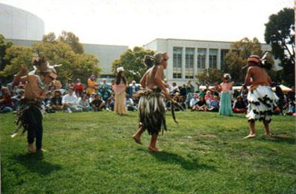 Native American instrumentalists and singers perform at the first Indigenous Peoples Day pow-wow in Berkeley in 1993.