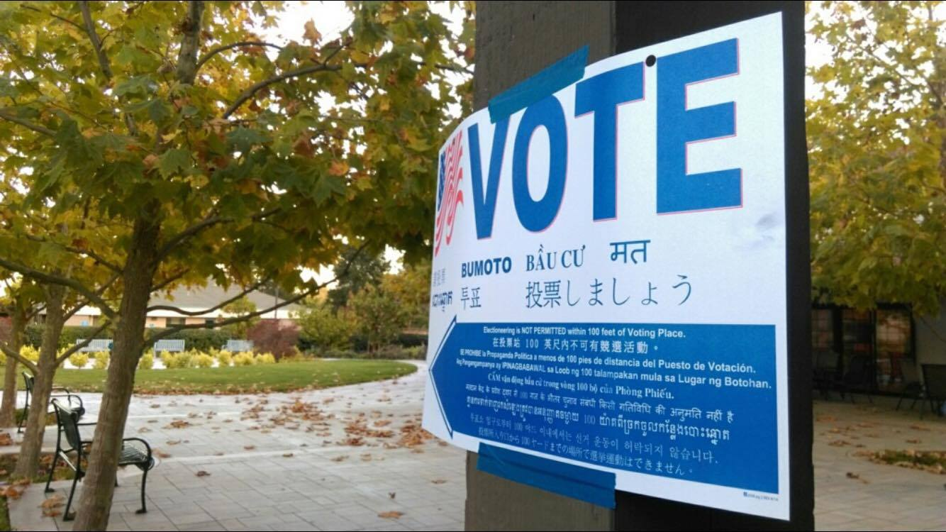 A sign near a polling location for the 2016 presidential elections bears instructions in many languages. According to the Census Bureau, 43 percent of eligible voters 18 to 29 voted that year.