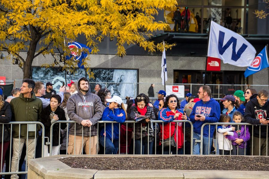 Cubs fans participate in a victory parade. the Cubs won their first World Series in 108 years this year.