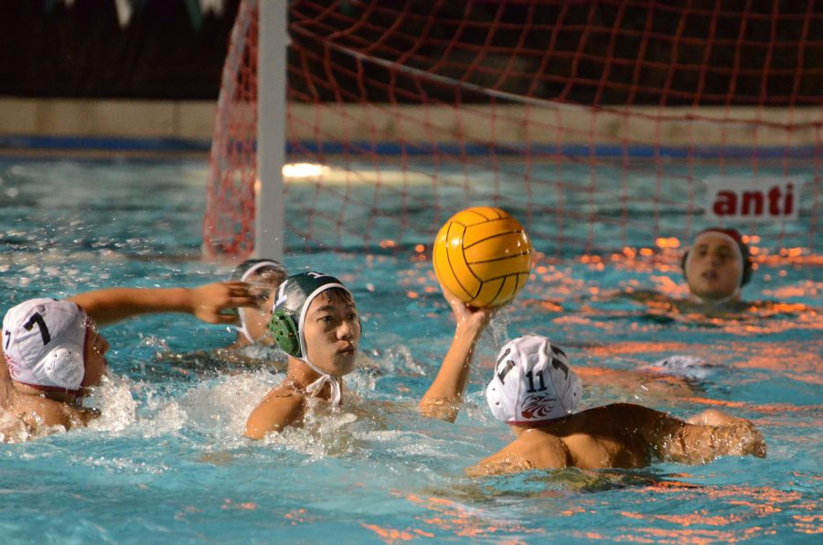 Peter Wu (12) looks to pass the ball in a game. The boys water polo team won the co-league championship and qualified for season this season.