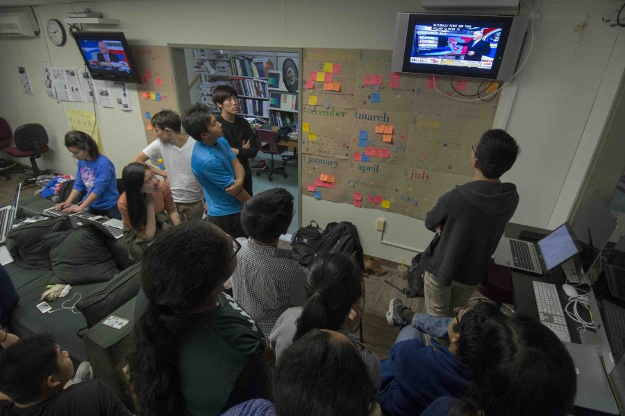 Election Watch: Harker Aquila and Winged Post staff members turn to watch the TV monitors on the walls of the journalism room as polling results roll in. On Nov. 9, Donald J. Trump was named the President-Elect of the United States of America.
