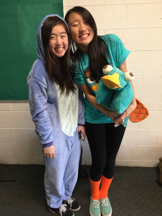Sophomore student council members Shania Wang and Kelsey Wu dress up as Stitch from